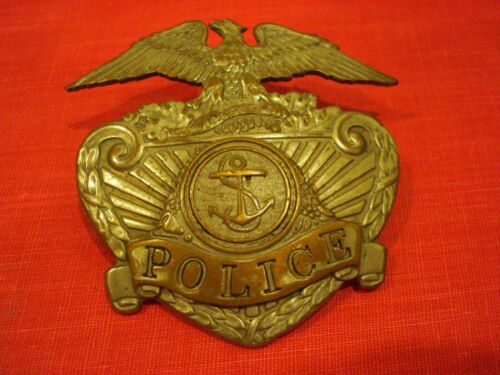 Obsolete Vintage Police Hat Badge with Fouled Anchor Emblem Military / Navy?