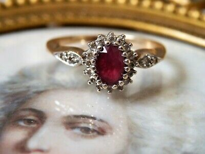 Pretty Vintage Ruby & Diamond 9 ct Gold Ring Size N