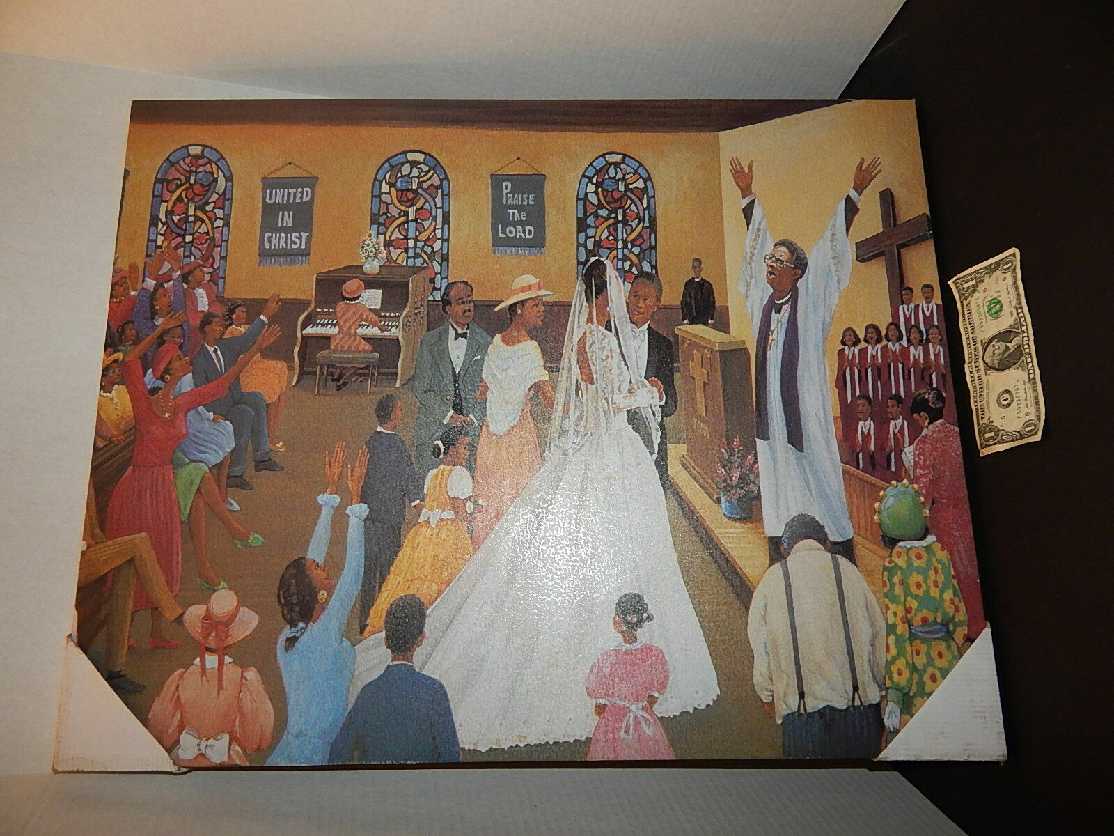 African American Wedding Church Christian Wall Picture 28x22 Large Art Print - $24.99