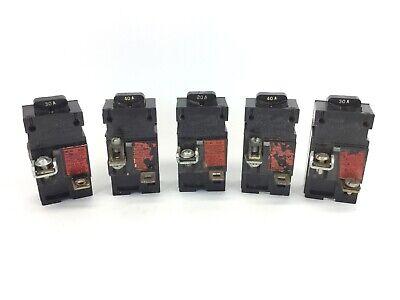 5 Pushmatic Breakers 40a 30a 20a Circuit Breaker Lot Used