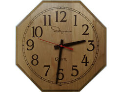 Vintage Ingraham 9 Wooden Octagon Country Kitchen Wall Clock Quartz