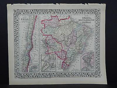 1874 Mitchell's New General Atlas  Chili Brazil Bolivia Paraguay Uruguay R7#23