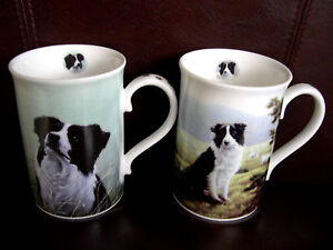 2 DANBURY MINT BORDER COLLIE MUGS CUPS CALLED LITTLE RASCAL SHEPHERDS DELIGHT
