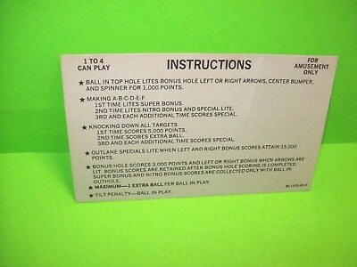 Bally NITRO GROUND SHAKER Original 1978 Pinball Machine Instruction Rules Card 1