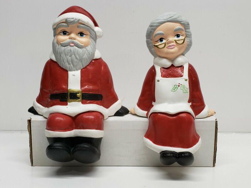 Vintage Mr & Mrs Santa Claus Ceramic Sitting Figurines Shelf Ledge Sitter