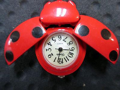 New Red Ladybug Clip Quartz Watch 6 Black Dots White Dial Ladybugs Xanadu Make