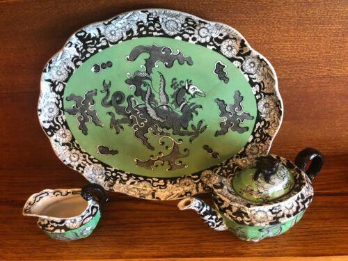 Ashworth  Ironstone Complete 9 piece Tea Set Dragon Ca 1840 teapot tray platter