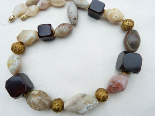 Ancient Agate and Quartz Stone Beads, Mali, Necklace with Idar Oberstein Agate
