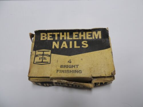 Bethlehem Steel 1 lb. 4 Bright Finishing Nails box VINTAGE!