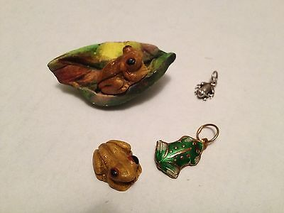 lot 4 COQUI FROG MAGNET MINI FIGURINE 925 SILVER CHARMS GREEN CLOISONNE