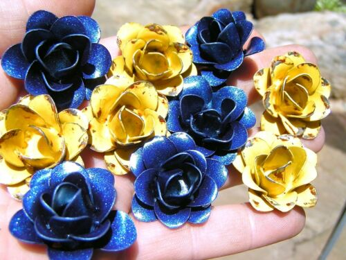 TEN metal flowers for crafts, jewelry, embellishments, accents, blue, yellow