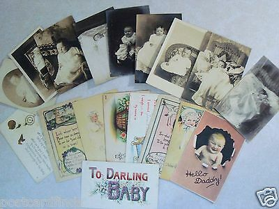 Circle Baby Photo Announcement - EARLY RPPC POSTCARD LOT OF 9 BABIES BABY REAL PHOTO PLUS 9 NEWBORN ANNOUNCEMENTS
