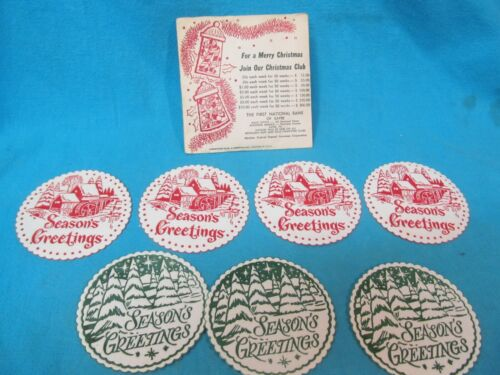 VINTAGE LOT OF 7 FIRST NATIONAL BANK OF SAYRE PA CHRISTMAS CLUB PAPER COASTERS