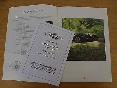 ORIGINAL 1990 MORGAN  A4 Sales Brochure PLUS PRICE LIST 1993