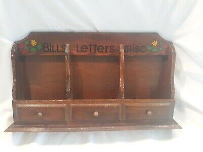 Vintage Desk Organizer Letter Mail Holder Faux Wood Strawberry Design Boho 70s