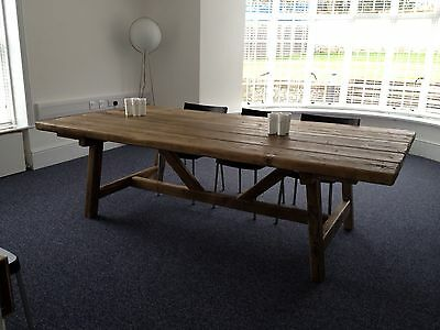 BEAUTIFUL RUSTIC OLD WORLD RECLAIMED TIMBER TRESTLE TABLE Made Up To 6 Ft X 3ft, used for sale  Barnsley