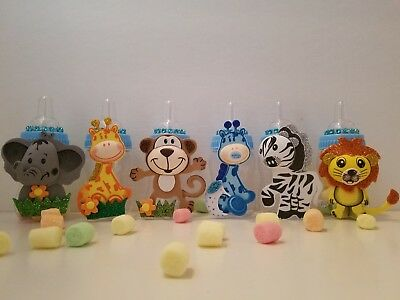 12 Blue Fillable Bottles Baby Shower Favors Prizes Safari Jungle Noah's Animals (Animals Baby Shower)