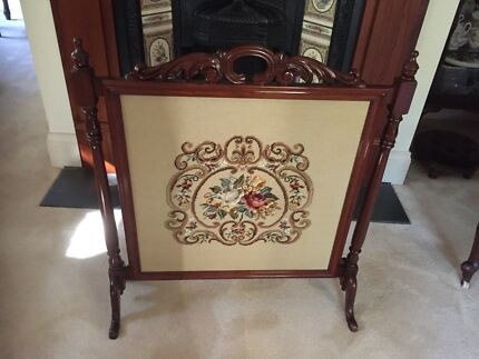Fire Screen - carved timber and tapestry