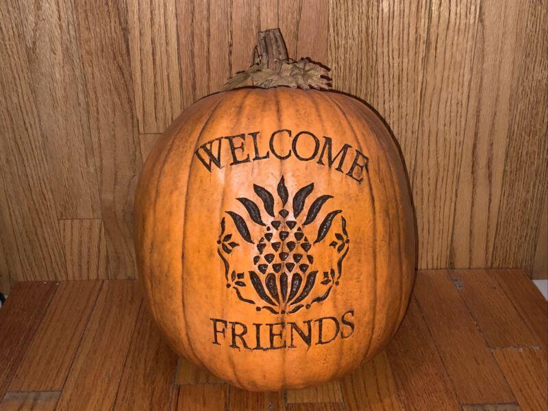 """Salem Collection """"WELCOME FRIENDS""""  Pineapple  Pumpkin 12 1/2"""" Tall"""