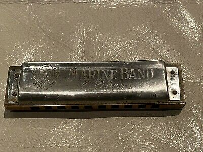 Vintage HOHNER MARINE BAND Harmonica KEY OF G w// Case /& Instructions #A440