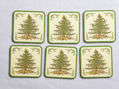 Spode CHRISTMAS TREE - set of 6 Square Coasters w/ Cork Back