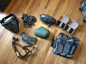 Various paintball equipment
