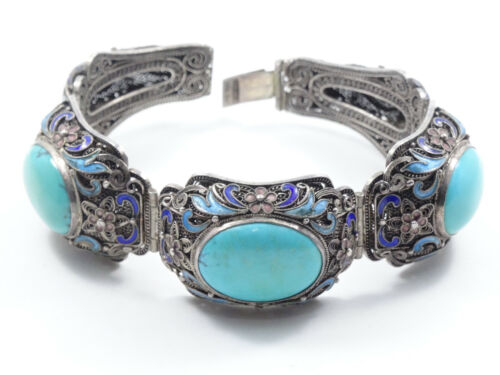ANTIQUE CHINESE EXPORT CHUNKY TURQUOISE ENAMEL FILIGREE PANEL BRACELET ~ 6.75""