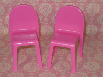 Mattel Barbie Doll DREAMHOUSE Replacement 2019 2 PINK KITCHEN TABLE CHAIRS Lot