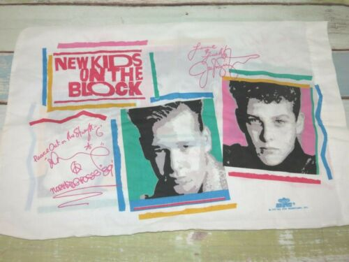 Vintage 1990 New Kids On The Block Pillowcase Rock Express Clean NKOTB Donnie