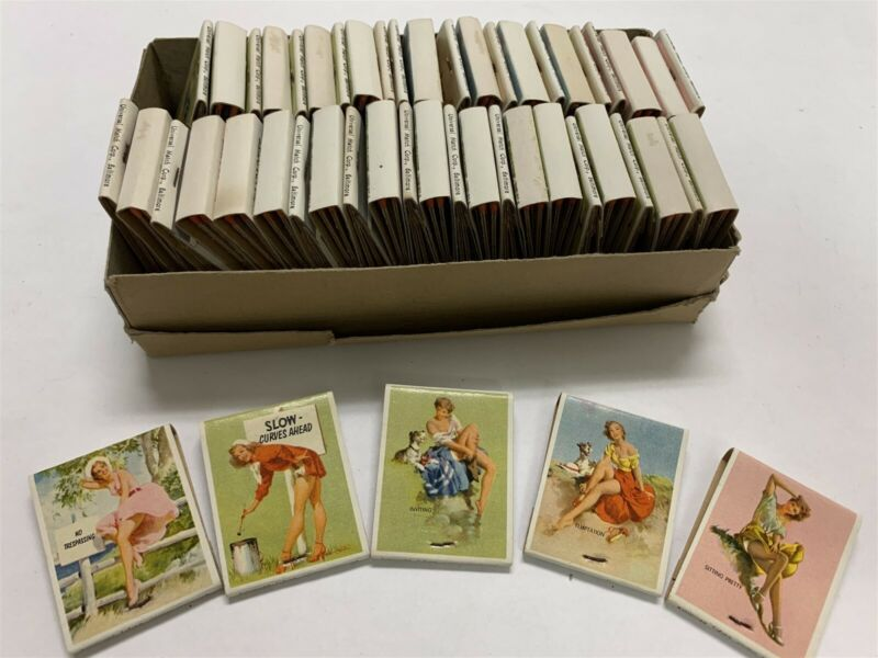 Vintage Box of 50 Pinup Match Books Universal Match CorpCharlotte Excavating 9A2