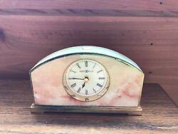 Vintage Clock Howard Miller Alarm Mantle Desk Metal Marble Plastic Finish