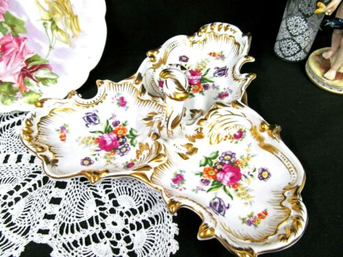 German 1900s pink floral Dresden style divided tray handle embossed Germany