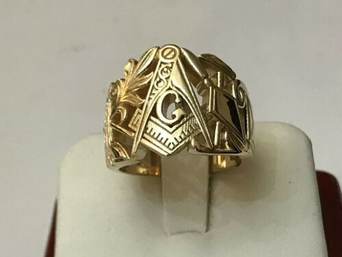 Unique Custom 14k Yellow Gold Masonic Hinged Side Door Ring Size 9 3/4 - 18.4 Gm