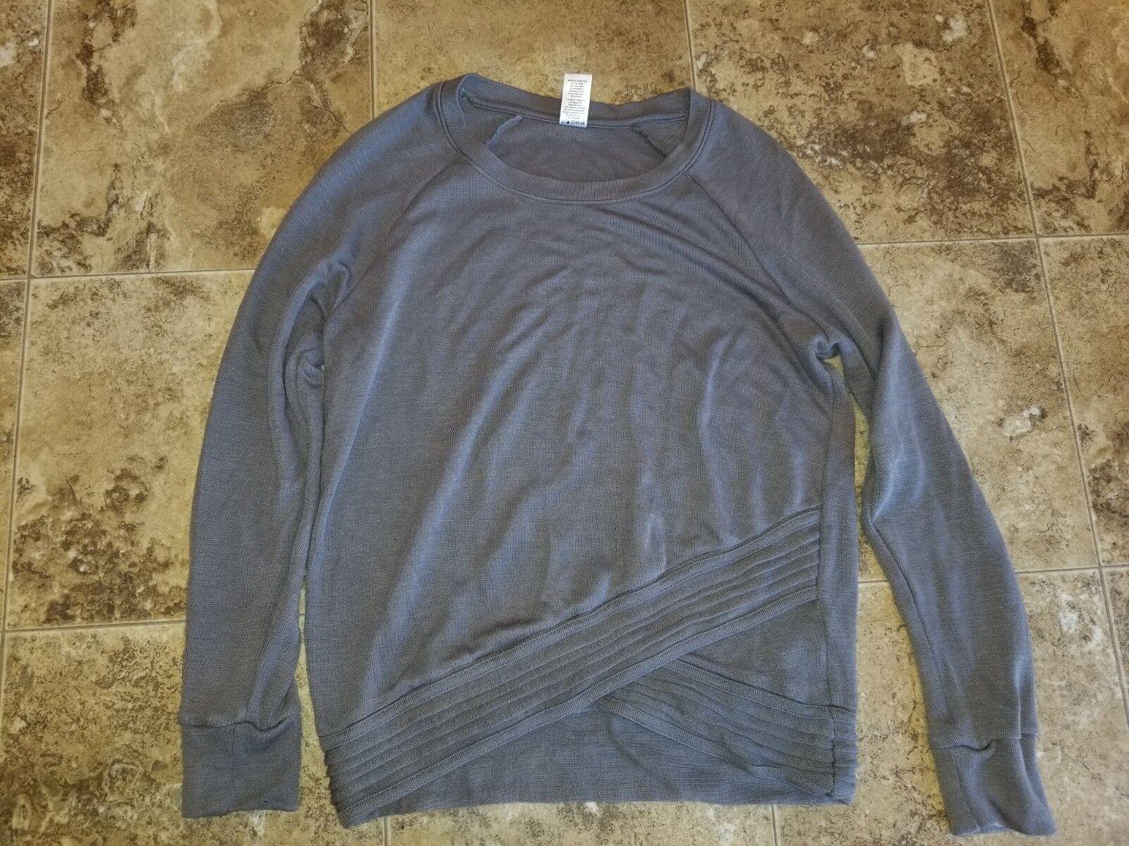 New Womens Active Life Silver Bell Gray Sweatshirt Shirt Lon