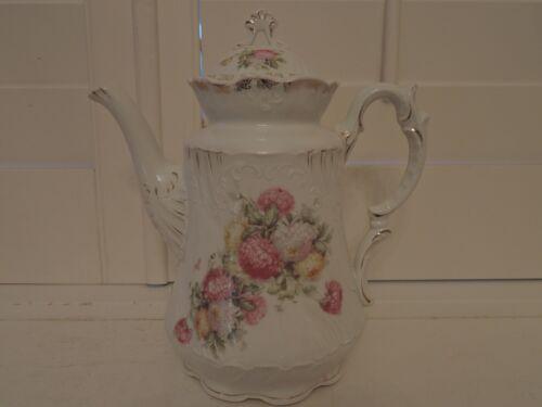 Antique Large Weimar German Porcelain Teapot Pink Mums 1880