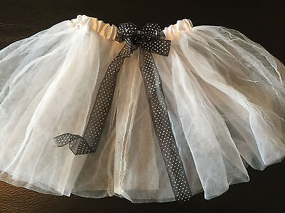 girls WHITE TUTU SKIRT black bow polka dot GHOST HALLOWEEN COSTUME size 4T 5](Ghost Costume 4t)