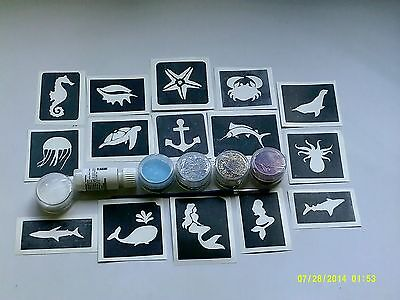 Sea themed glitter tattoo set incl. stencils + glitter + glue   ocean seaside (Ocean Themed Tattoos)