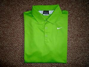 Mens Nike Golf Dri Fit Funky Lime Green White Polo Shirt