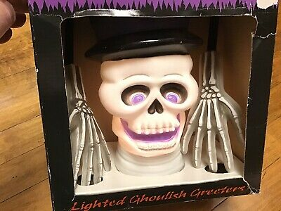 Vintage Blow Mold Ghoulish Greeters w Box Skeleton Skull Lighted Halloween Prop