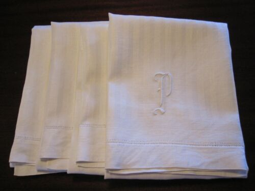 "4 ANTIQUE VICTORIAN EDWARDIAN WHITE DAMASK LINEN TOWELS EMBROIDERED MONOGRAM ""P"""