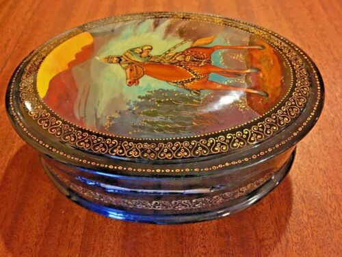 Russian Folk Art Wooden Black Lacquer Hinged Oval Box Red Interior~Red Stallion~