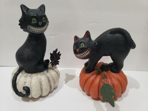 Primitive Vintage Style Halloween Black Cat Pumpkin Figurine Tabletop Decor