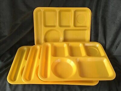 Lot of 4 SiLite Cafeteria 6 Compartment Divided Lunch Trays Yellow 614 USA Yellow Cafeteria Tray
