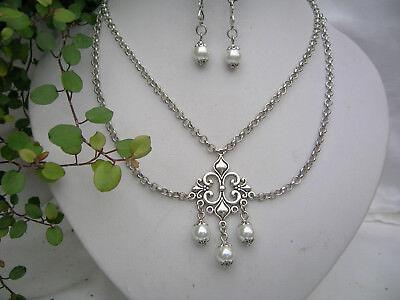 Trachtenschmuck-Set Halskette 2-reihig mit Perlen und Ohrringen antiksilber