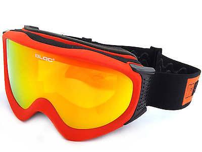 Bloc - Ice Ski Snowboardbrille Matt Rot/Rot Spiegel Cat.3 Lens Ice07 ()