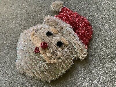 """Vtg Santa Christmas Decoration Tinsel Wire Wall Hanging Indoor Outdoor Large 17"""""""