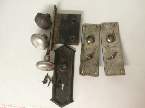 Vintage Lot of 1 Full Clinton Door Knob Set and 1 Additional Plate With Knob