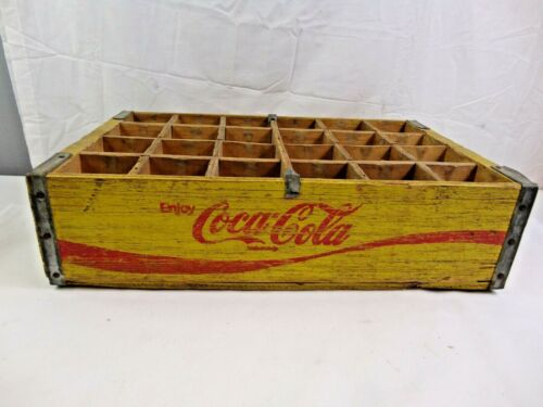 Vintage Wooden Yellow Enjoy Coca Cola Case Holds 24