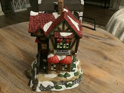 Grandeur Noel Christmas Village Red River Restaurant Vintage Rare W/ Light