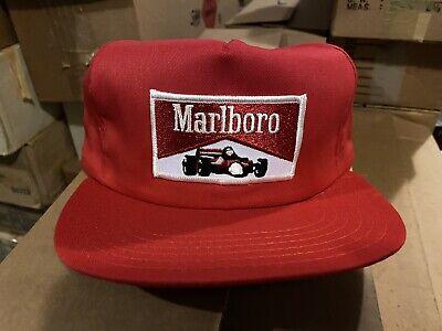 MARLBORO RACING Snapback Trucker Farm Cap Hat F1 IndyCar Red Vintage USA 🇺🇸